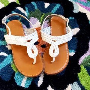 Girls white braided sandal